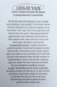 Interview over assertiviteit Wendy